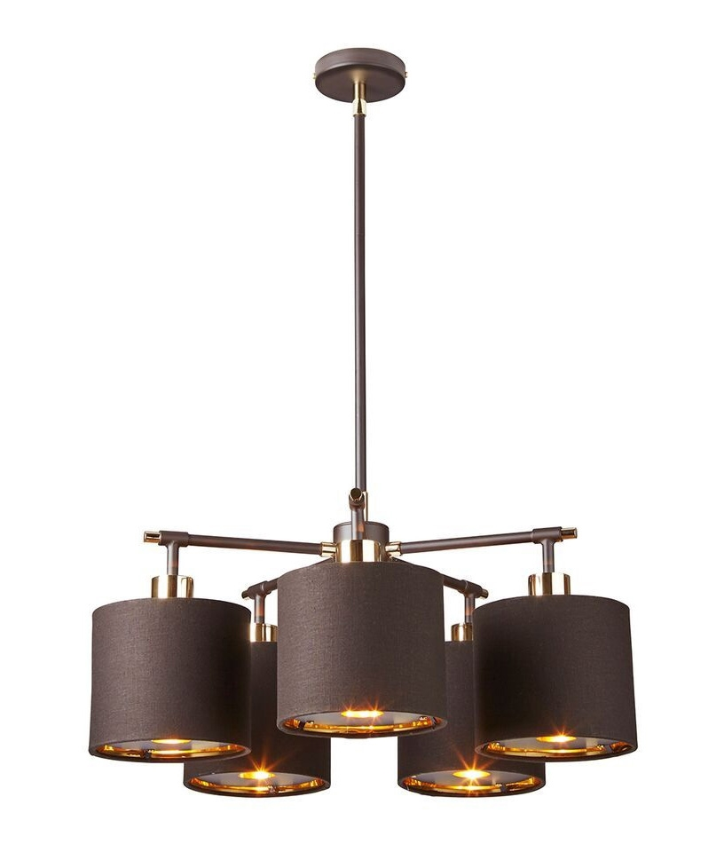 Modern 5 Arm Chandelier In White And Silver Or Brown And Gold