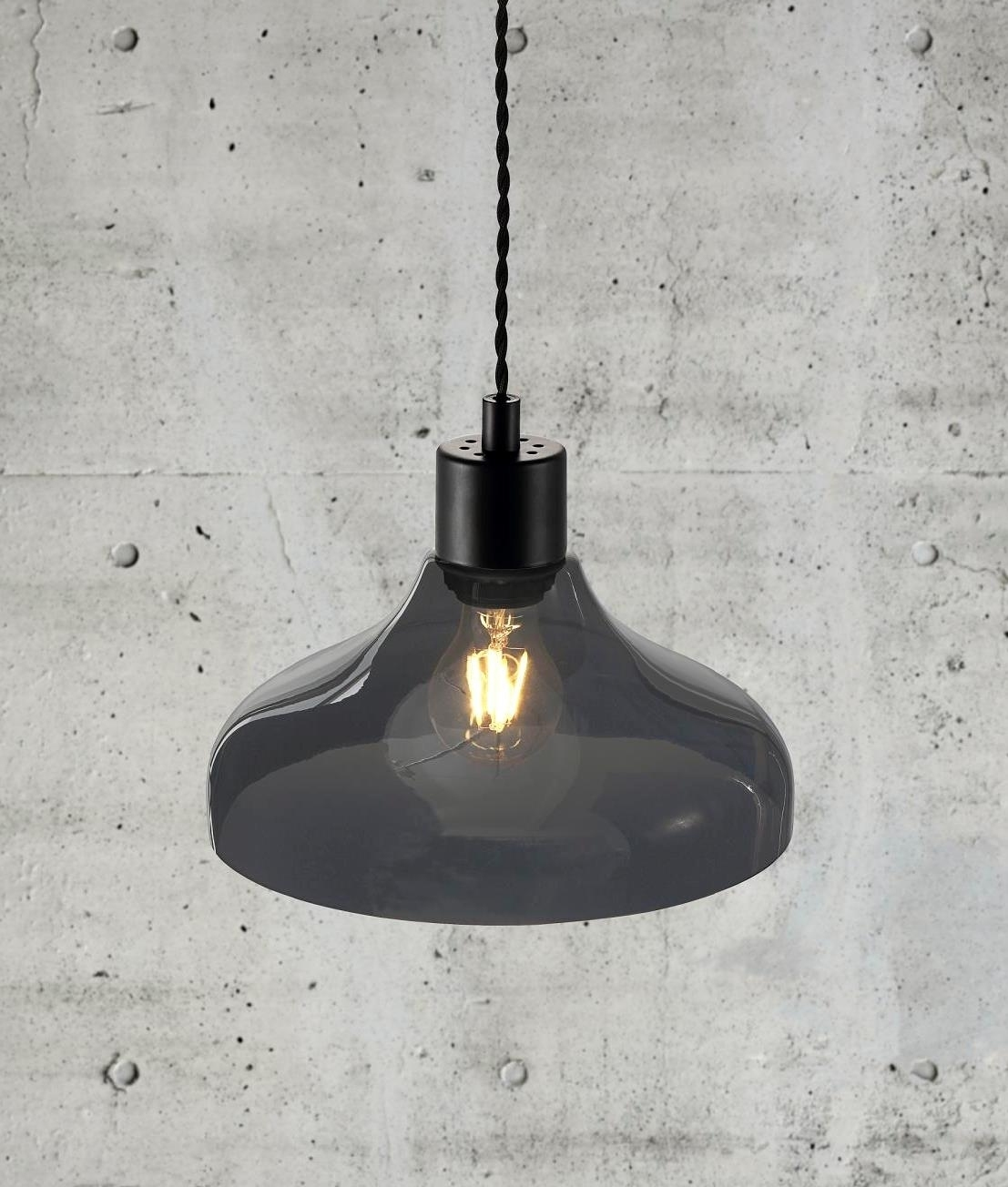 Pendant With Contoured Dome Glass Shade
