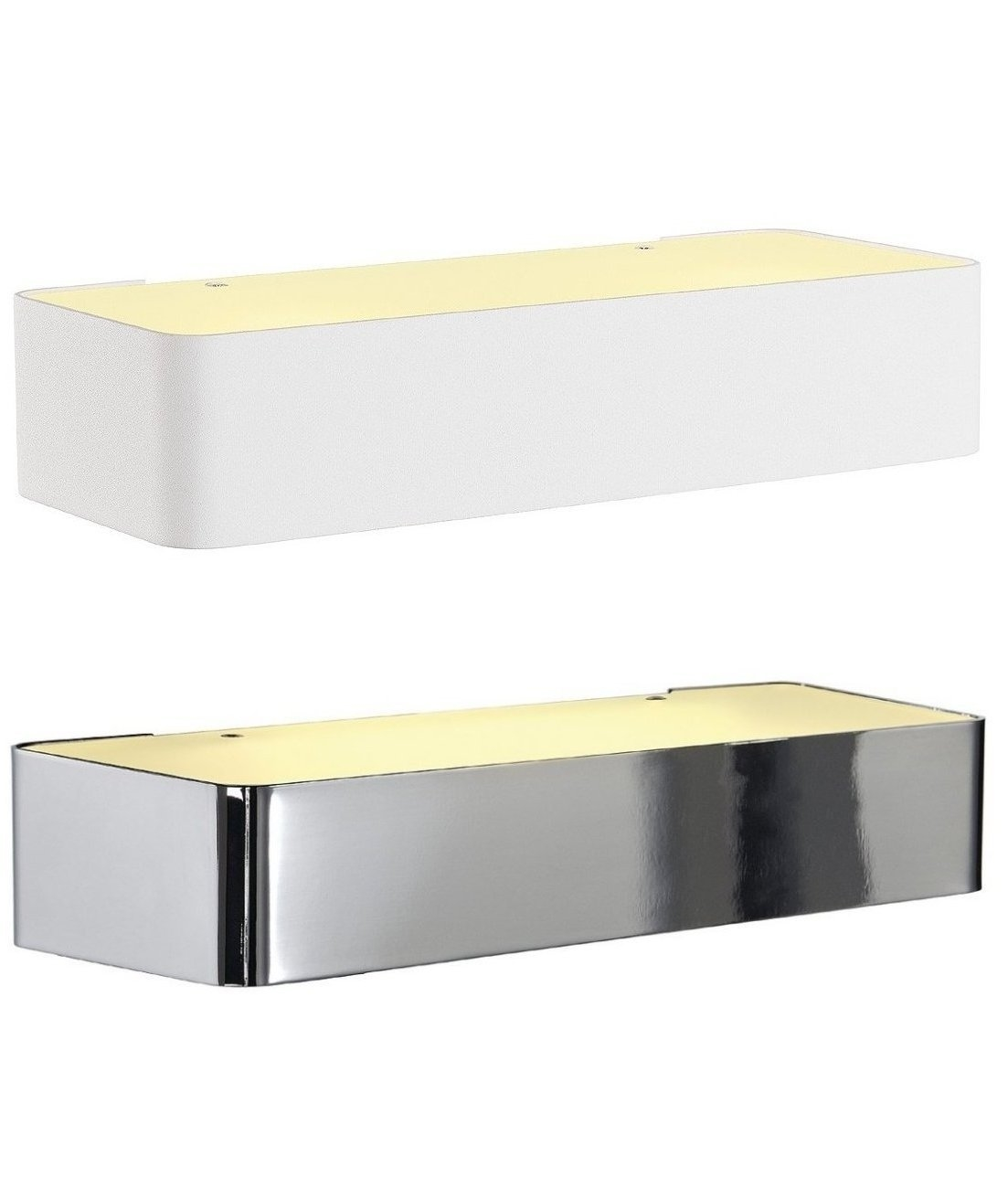 White Box Wall Lights : Rectangular wall light with opal glass in two finishes