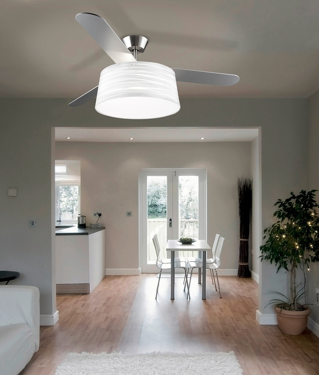 modern ceiling fan with light and drum shade