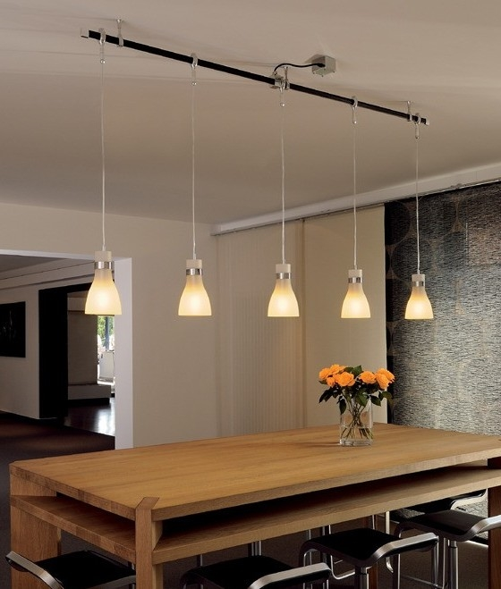 Frosted Glass Hanging Pendant Designed For Use On A Track