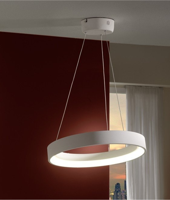single circle led pendant in white finish. Black Bedroom Furniture Sets. Home Design Ideas