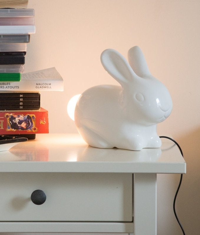 White Porcelain Bunny Rabbit With Light Up Led Tail