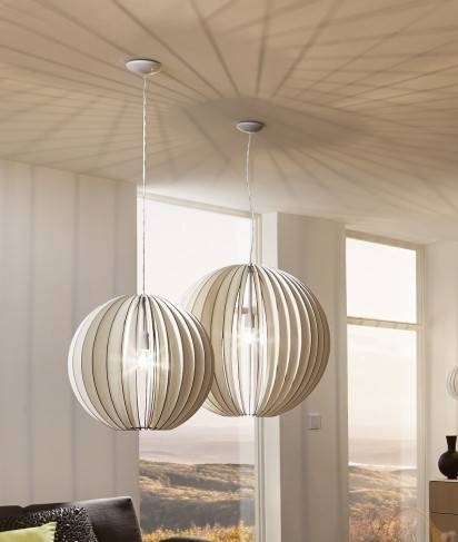 White Wooden Pendant With Curved Slatted Detailing