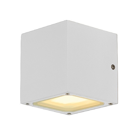 External Wall Light White : Exterior Up and Down Wall Light in a Cube Shape