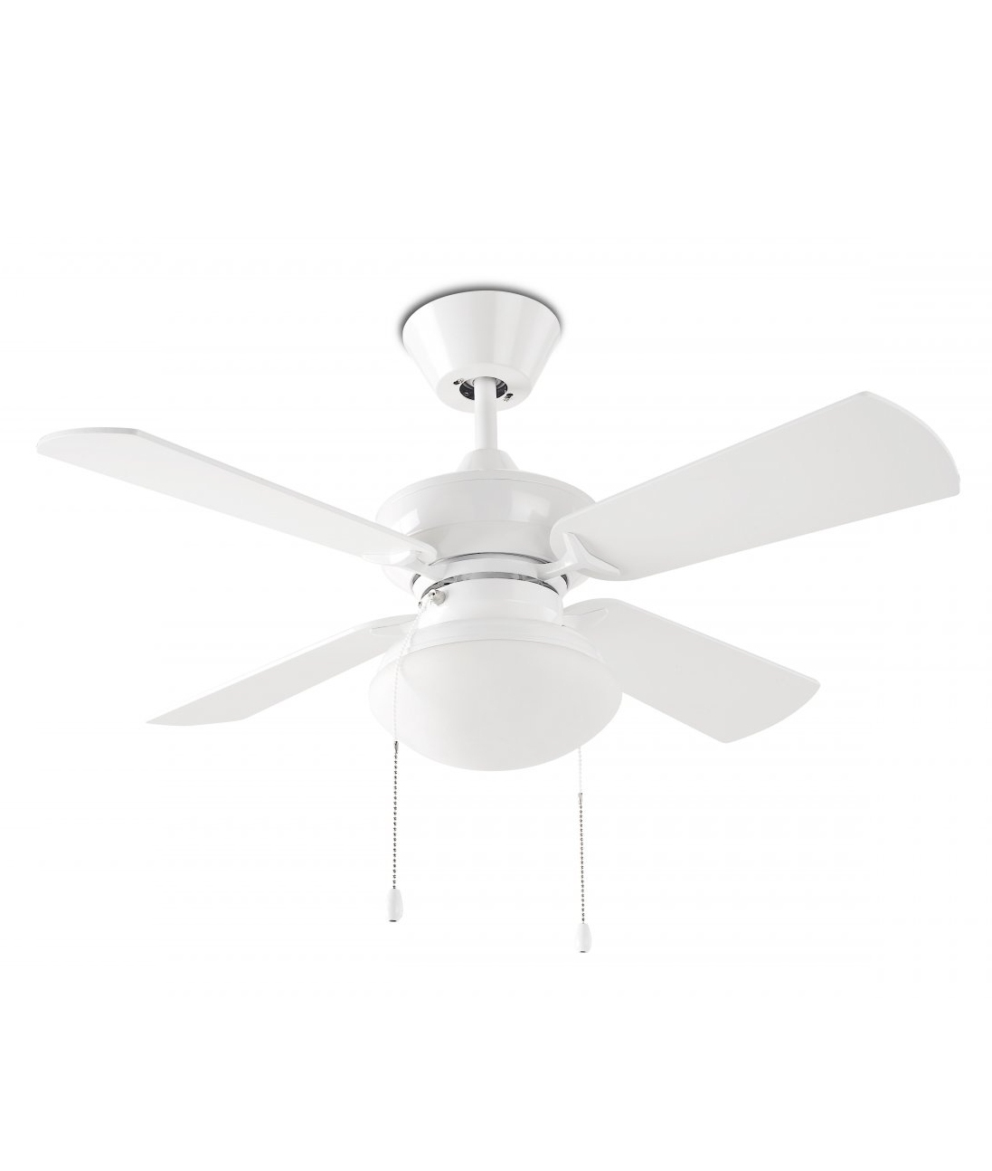 White Ceiling Fan With Four Reversible Blades And Downwards Light
