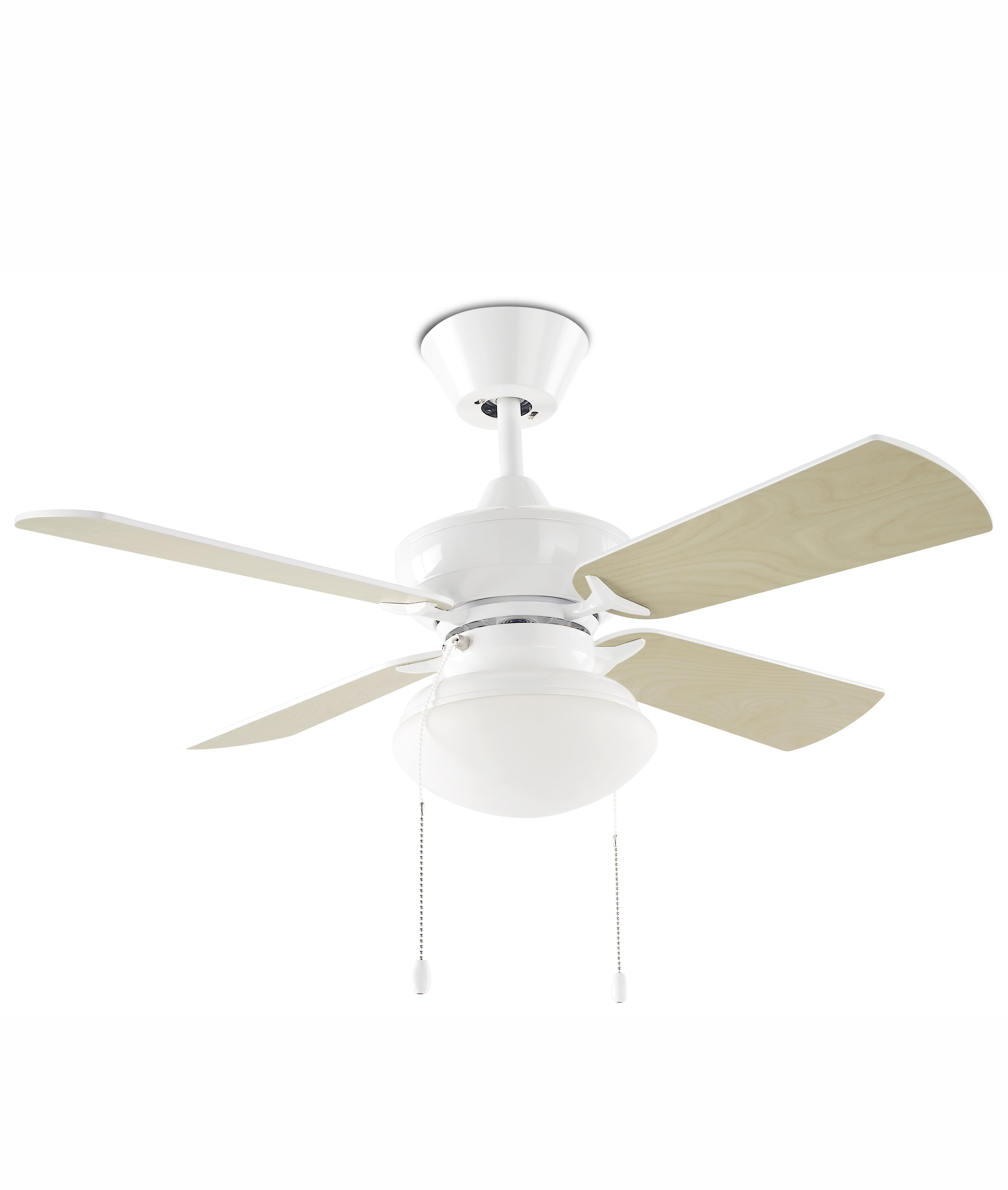 White Ceiling Fan With Four Reversible Blades And