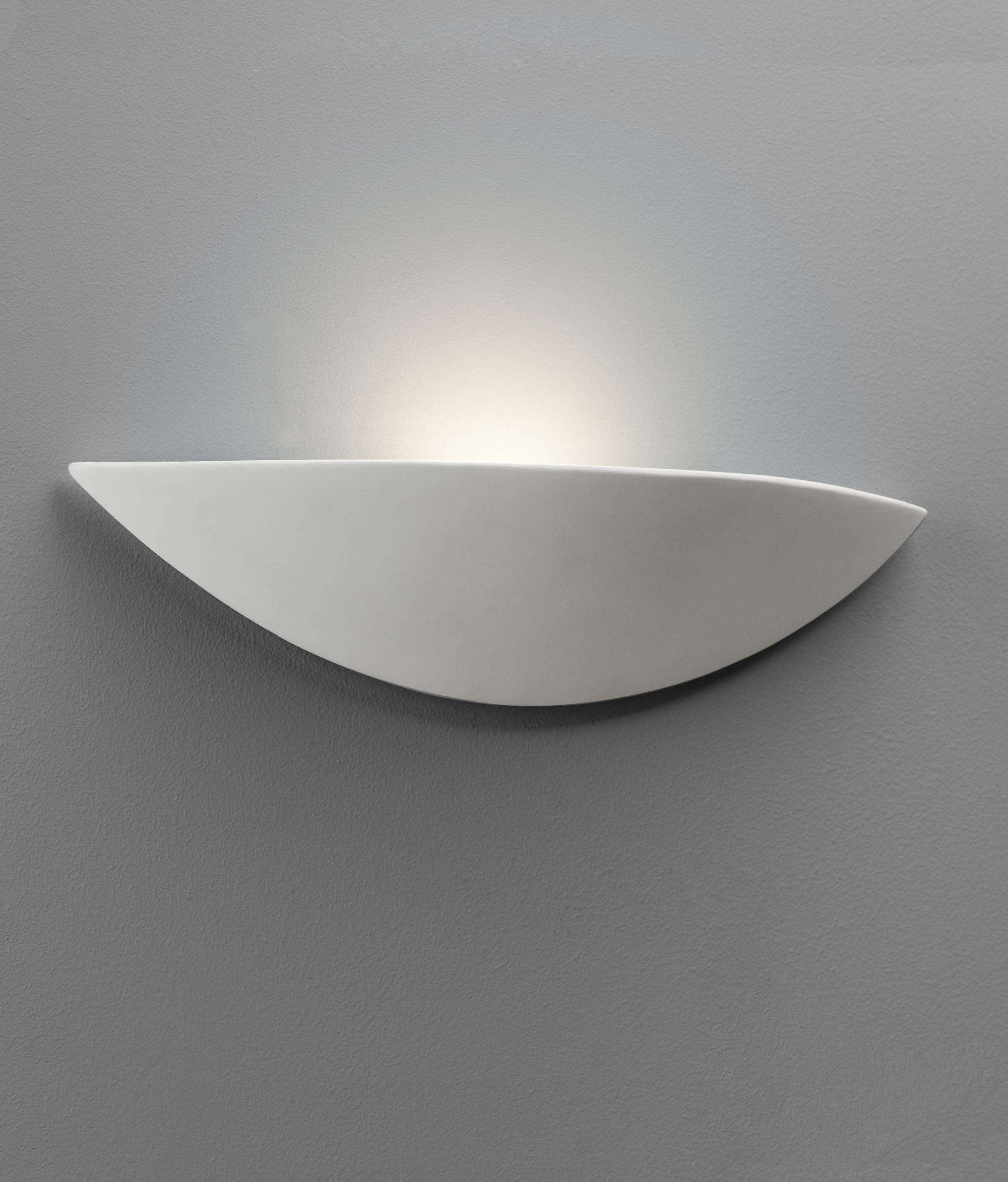 Wide Crescent Plain Plaster Led Wall Light