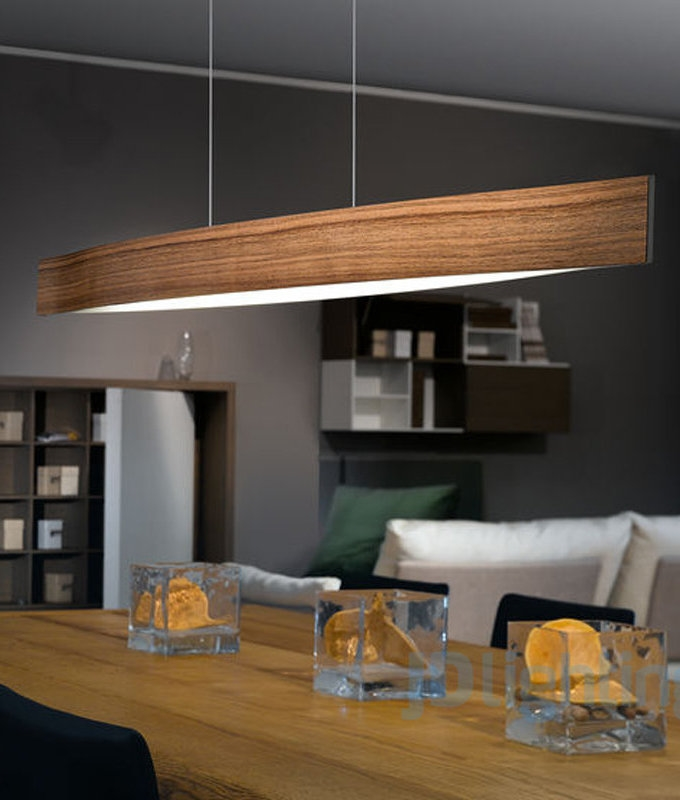 Slender Suspended Light Pendant In Wood Grain Design