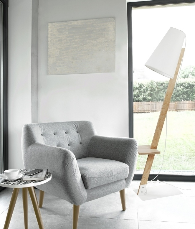 Floor Lamp With White Shade And Shelf, Oak Floor Lamp With Shelves Uk