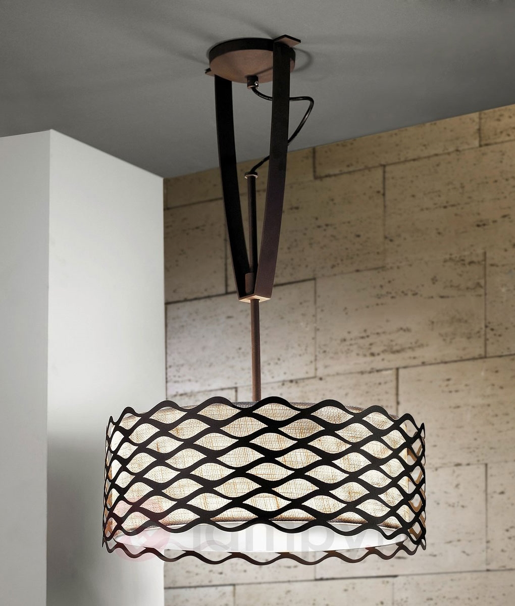 Adjustable Height Wall Lamps : Height adjustable ceiling light with woven shade and expanded metal.