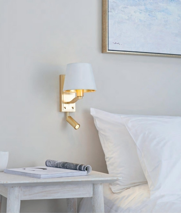 Brushed Gold Bedside Wall Light With, Led Arm Lights