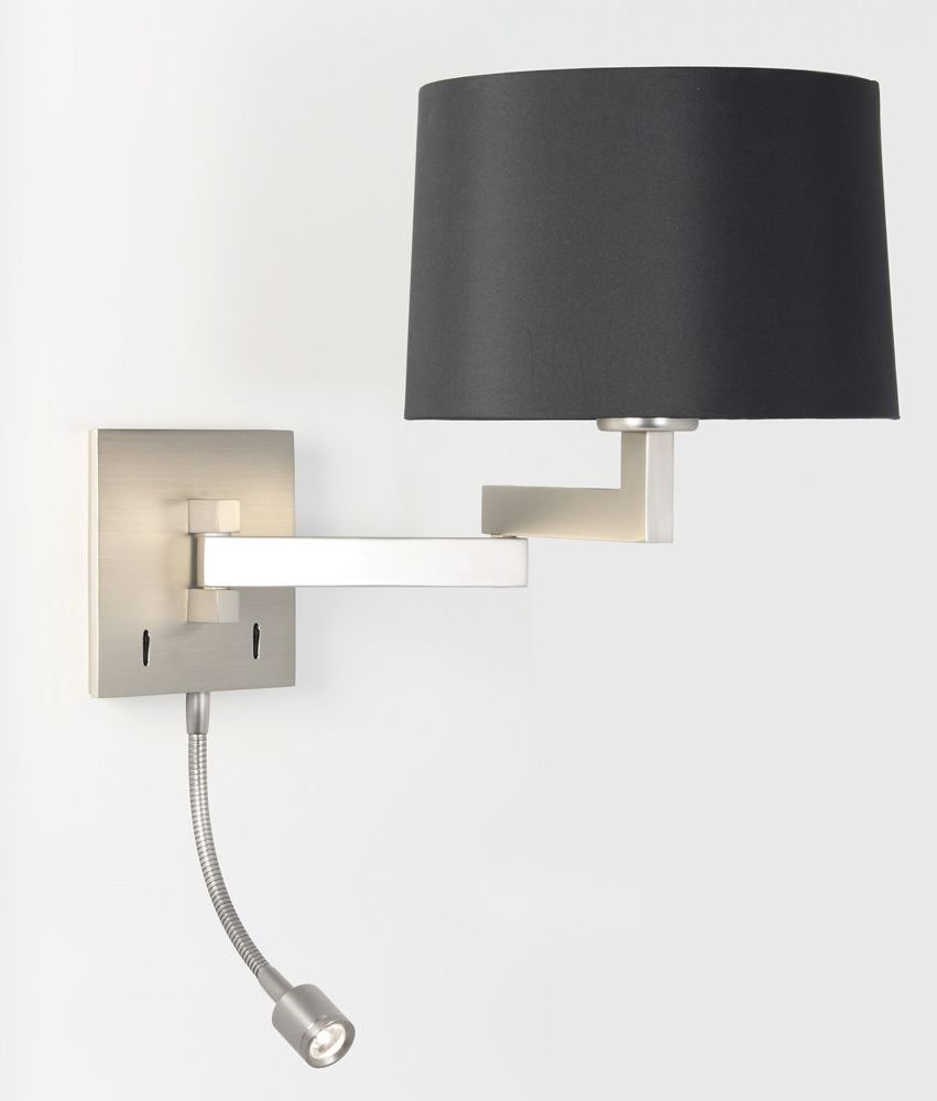 Bedside Wall Lamp With Led : Bedside Wall Light with built in LED Reading Light in Matt Nickel Finish.