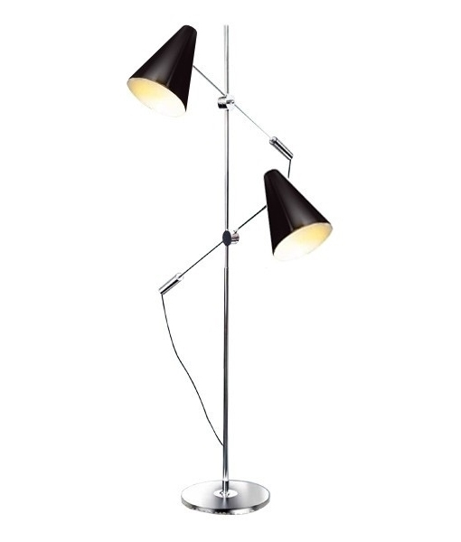Floor lamp with two adjustable reading lights floor standing reading light for two people chrome with black shades details aloadofball