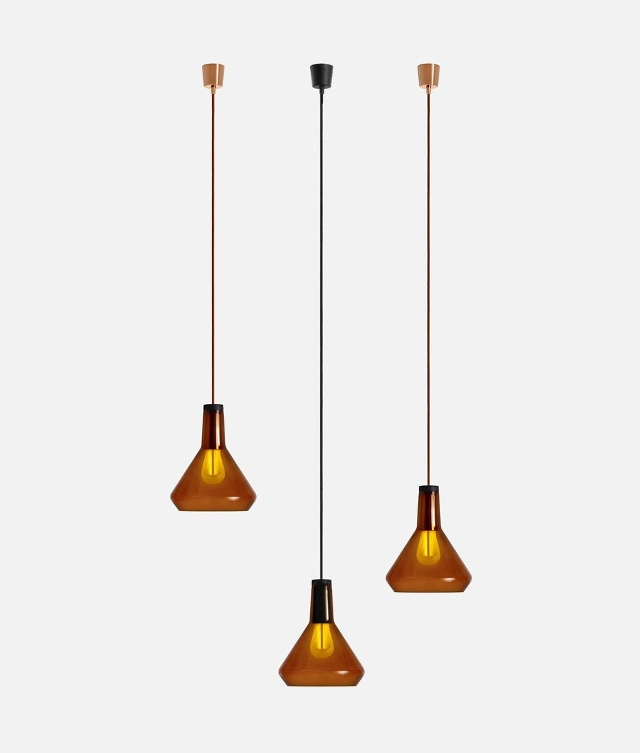 Hand Blown Glass Shade Amber Black Or White