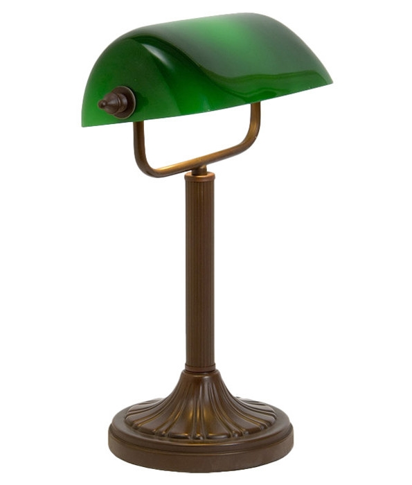 bankers lamp with green glass shade. Black Bedroom Furniture Sets. Home Design Ideas
