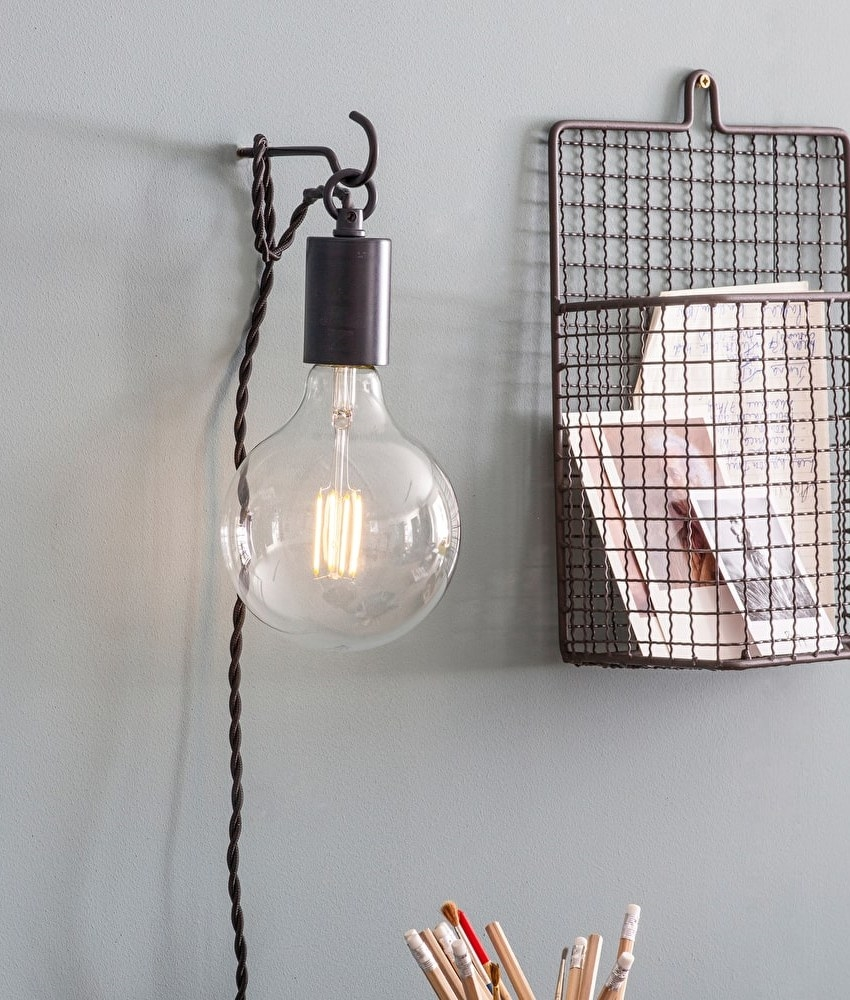 Wall Hanging Lights: Bare Bulb Hanging Wall Light With Hook