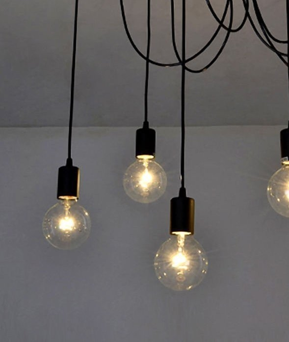 Minimalist Bare Bulb Pendant With 4 Lamps