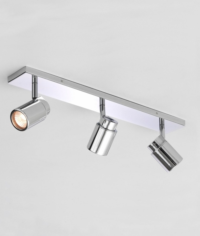 polished chrome triple spot light bar ip44 bathroom