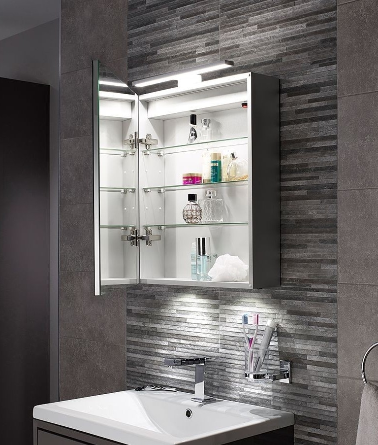 Led bathroom illuminated cabinet with over mirror light for Bathroom cabinets led