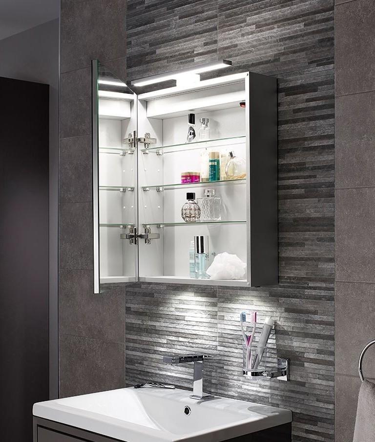 led bathroom illuminated cabinet with over mirror light rh lightingstyles co uk bathroom vanity mirror with lights and storage bathroom mirror cabinet with lights and shaver socket uk