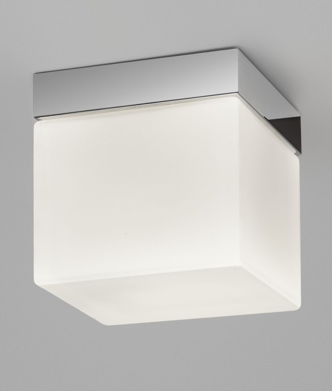 Opal Glass Cube Square Ceiling Light With Ip44 Rating