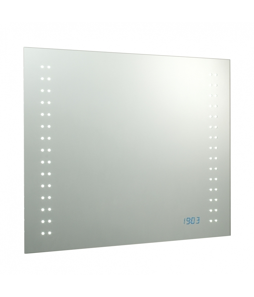 led bathroom mirror built in led clock 600mm. Black Bedroom Furniture Sets. Home Design Ideas