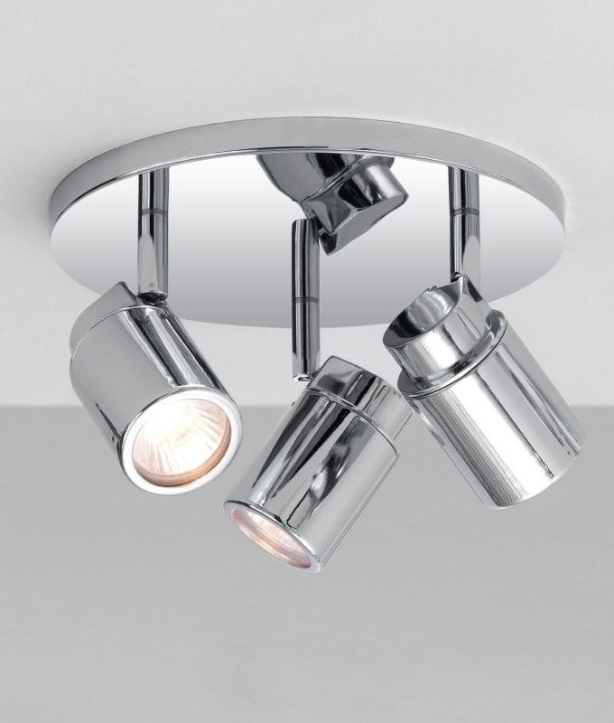 round bathroom light bathroom spotplate with 3 adjustable mains gu10 spot 14253