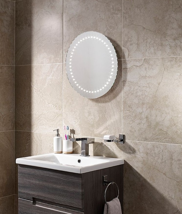 Round 500mm Led Illuminated Bathroom Mirror With If Sensor And Demister Pad