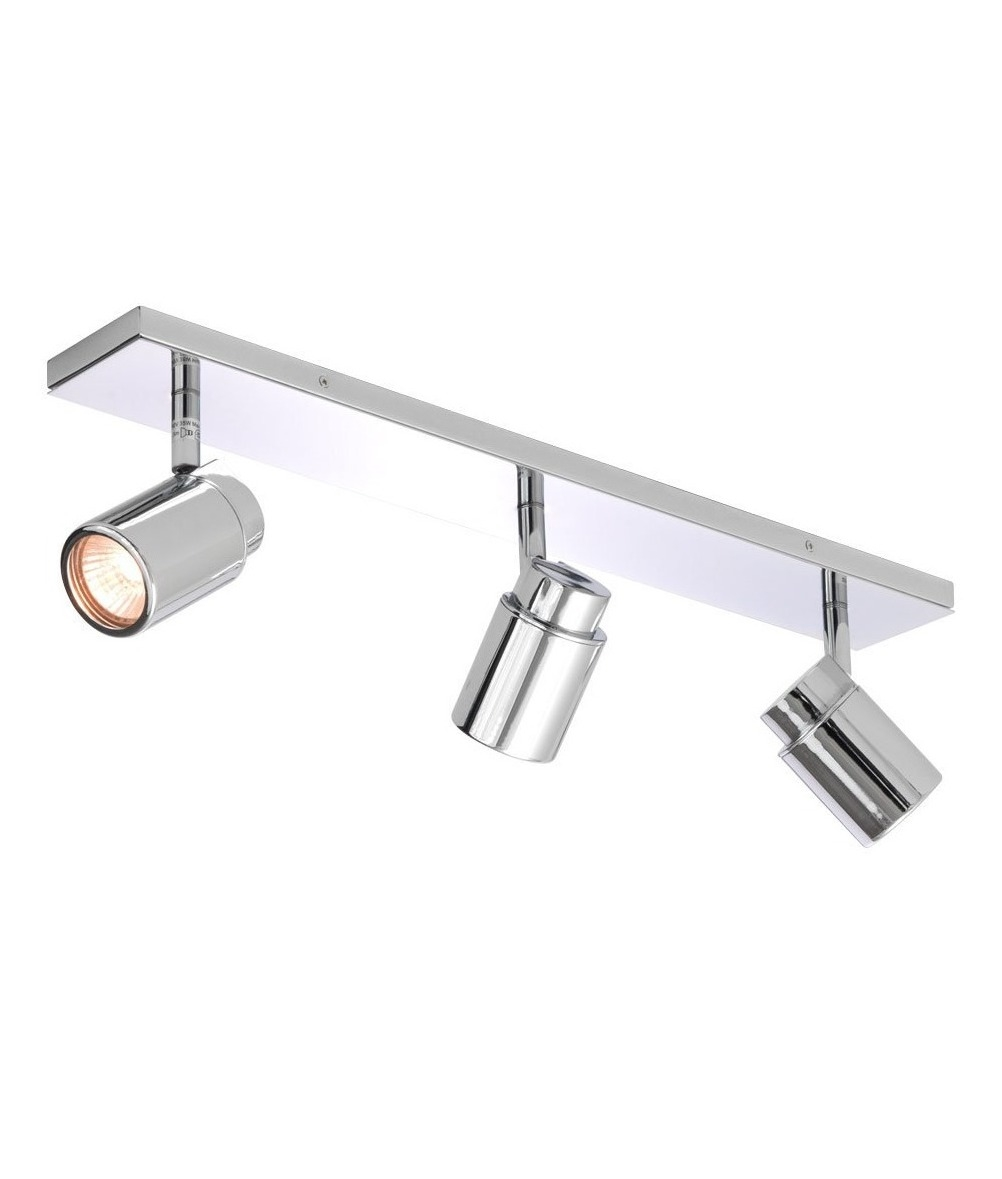 Bathroom Lights Gu10 polished chrome triple spot light bar. ip44 bathroom triple spot