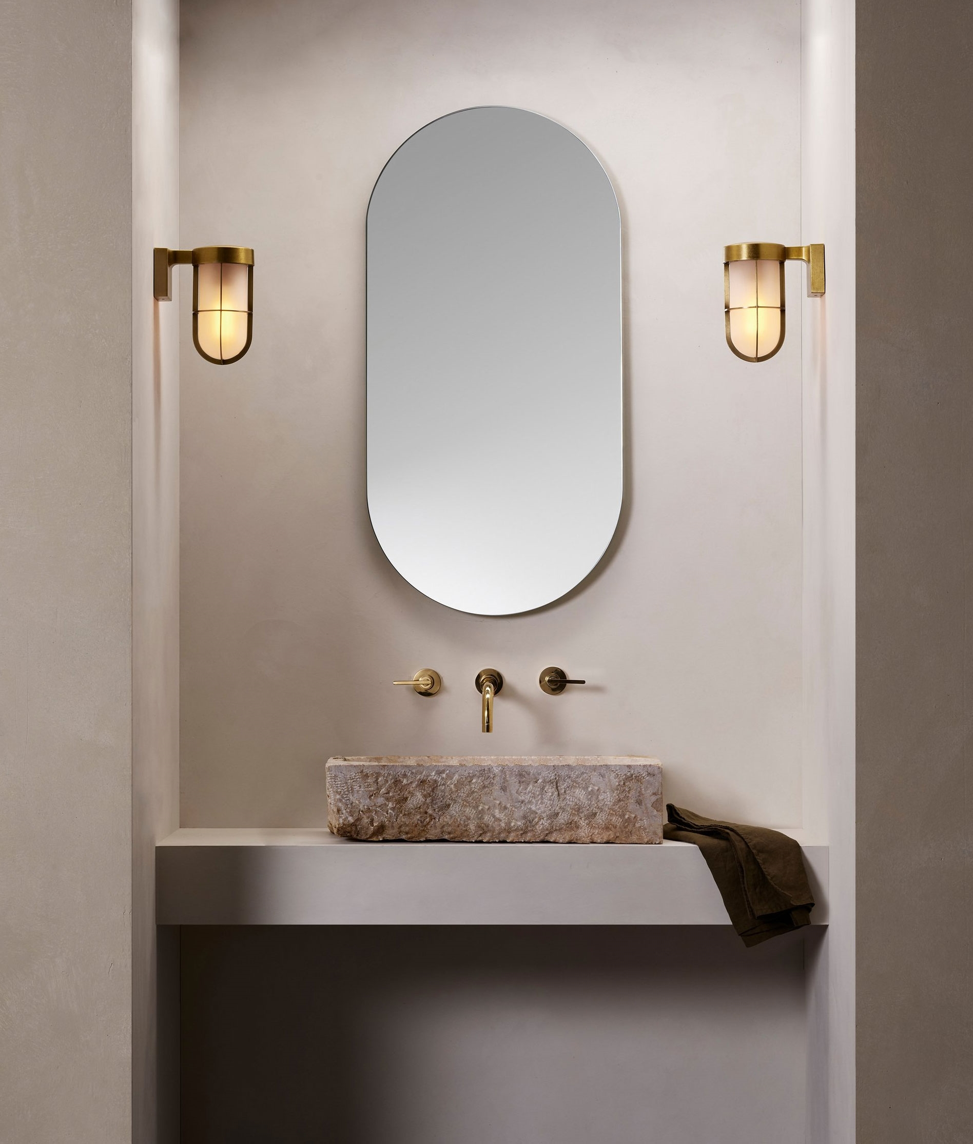 Cabin Style Ip44 Rated Wall Light Frosted Glass On A Brass Bronze Or Nickel Bracket Designed For Use Inside Or Out
