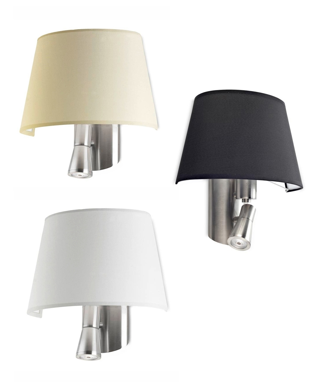 Satin Nickel Finish LED Bedside Reading Light - Three ...