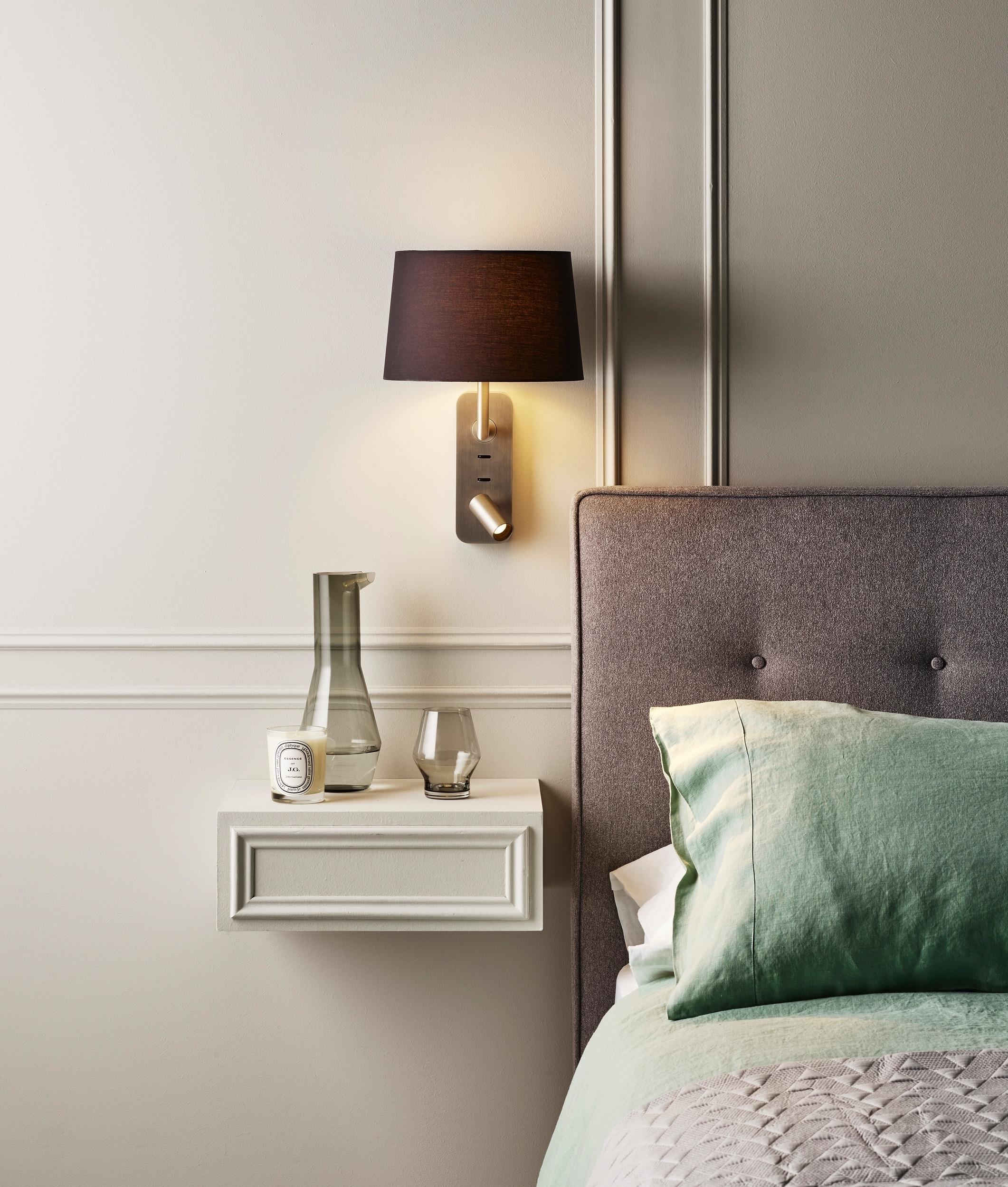 Bedside Light with Shade & Adjustable LED Spot Light