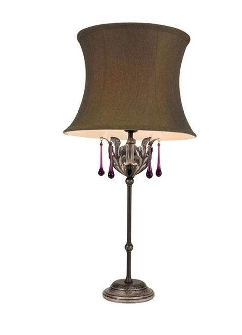 Ornate table lamp with glass drops bronze or black for Ornate silver floor lamp