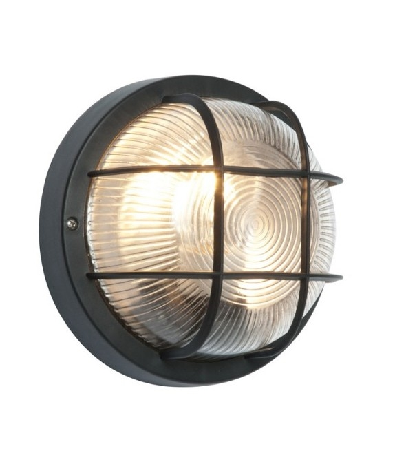 Round polycarbonate bulkhead light with cage for Round exterior lights