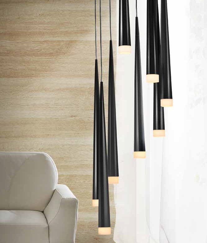 Long Drop Cylinder Shaded 8 Light In Black, White Or