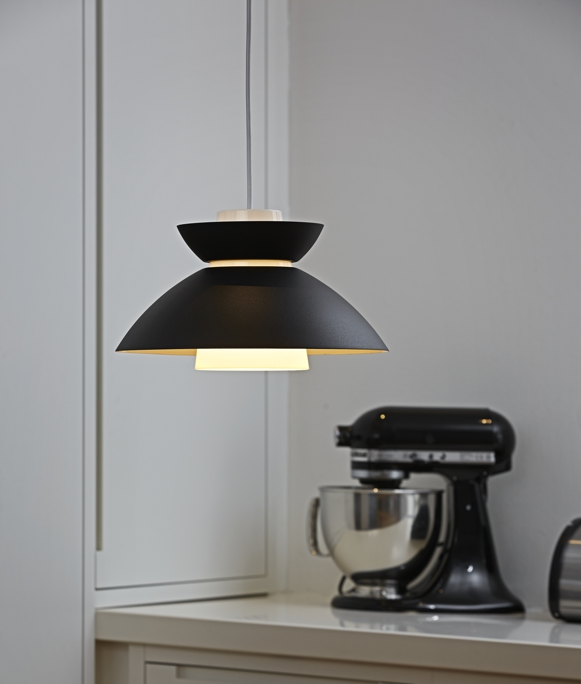 Metal scandi style pendant with opal interior shade for Interior design lighting uk