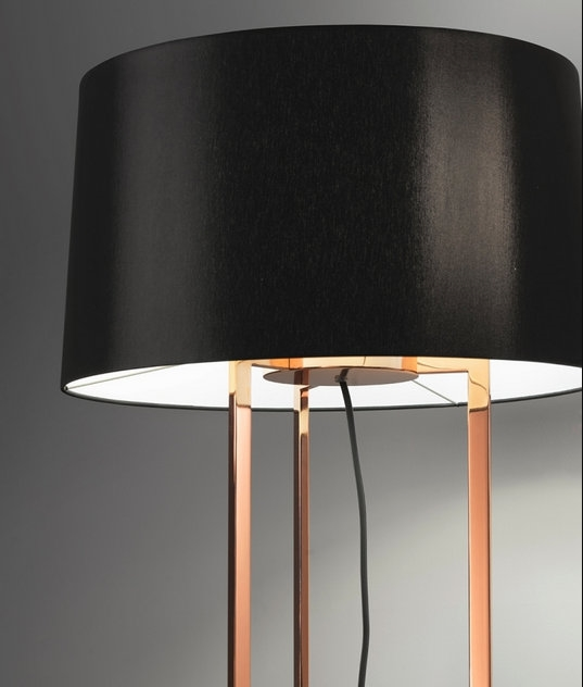 Large designer gold black shaded floor lamp hover to zoom aloadofball Image collections