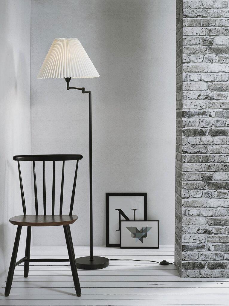 Swing Arm Pleated Shade Black Base Floor Lamp