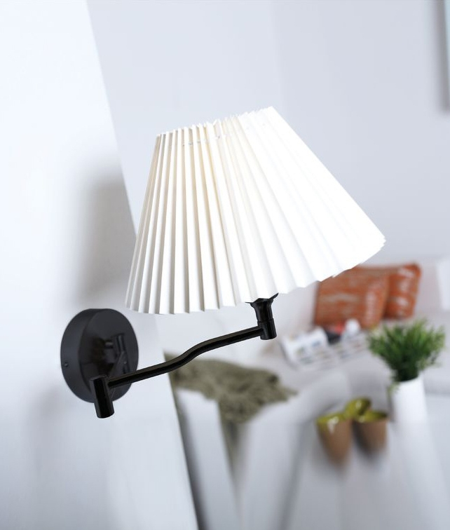 Swing Arm Wall Light With Pleated Shade