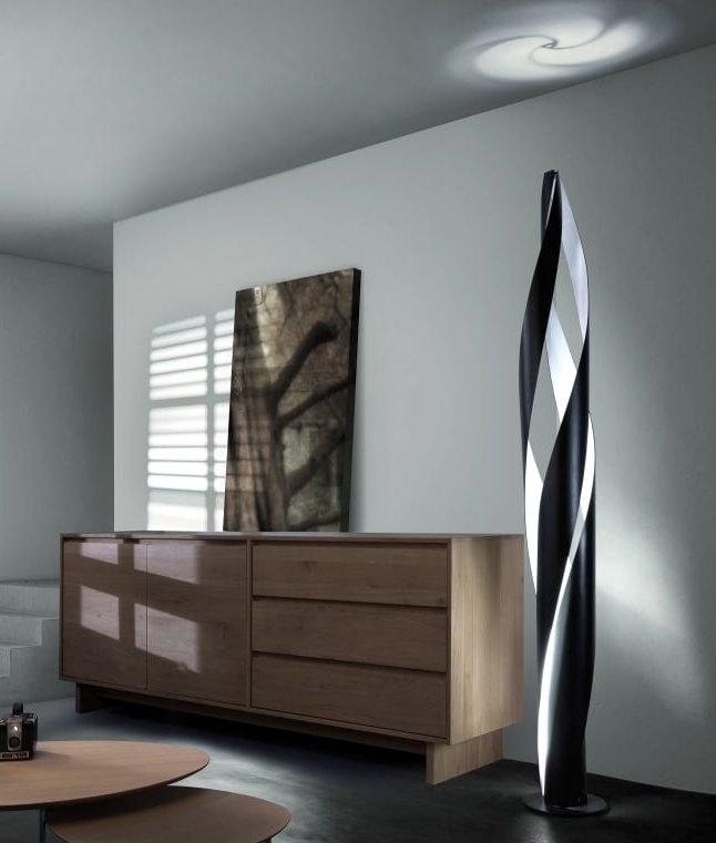 Innovative Spiral Design Floor Lamp In Black