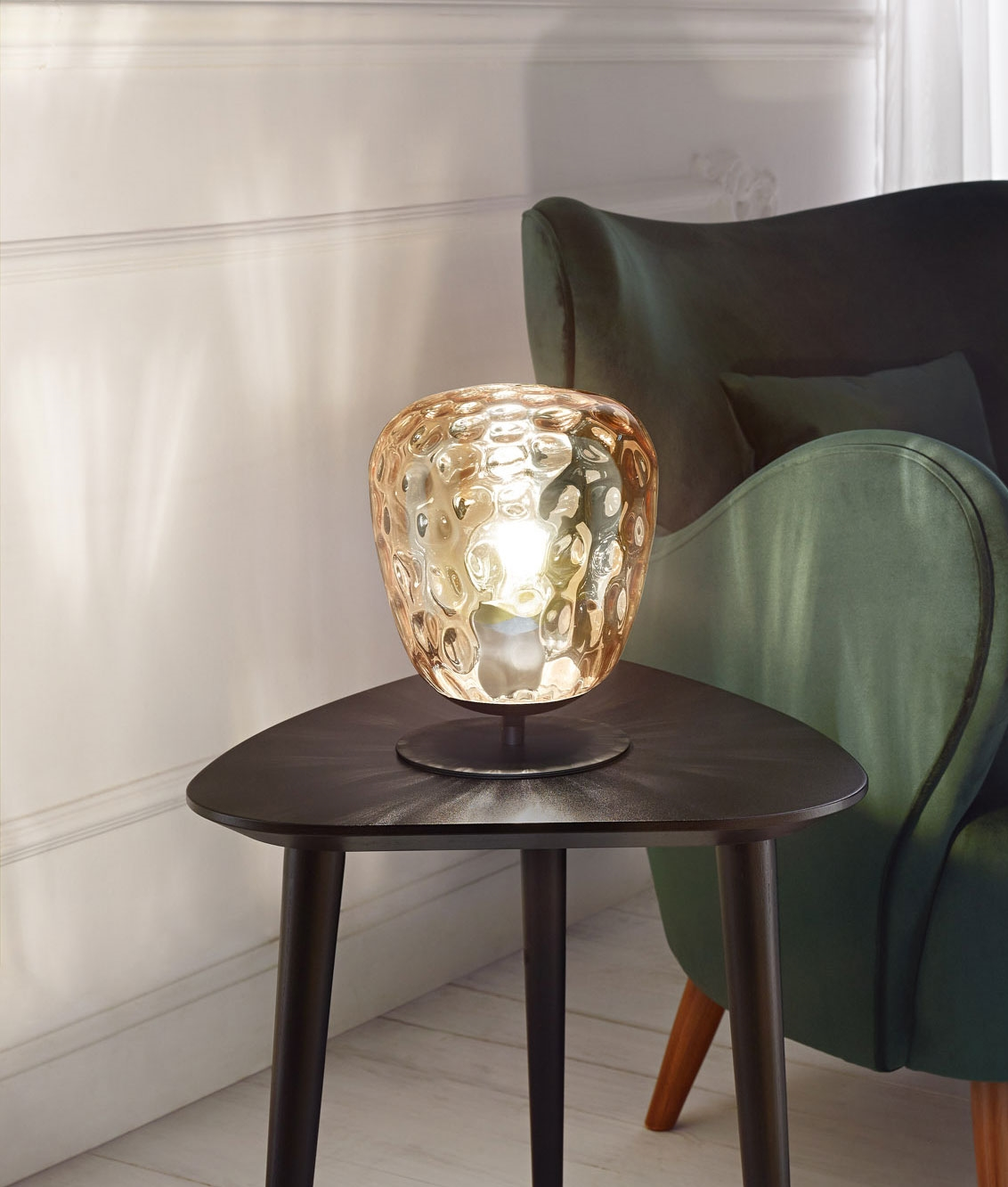 Picture of: Amber Blown Glass Table Lamp Built In Switch