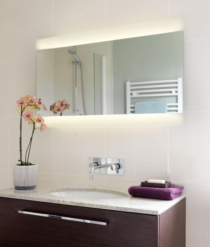extra wide illuminated bathroom mirror