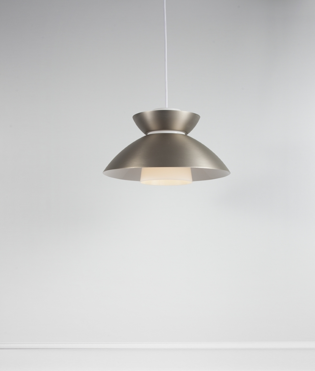 Metal Scandi Style Pendant With Opal Interior Shade