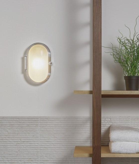 A Bulkhead Wall Light With Opal Glass And Chrome Finish