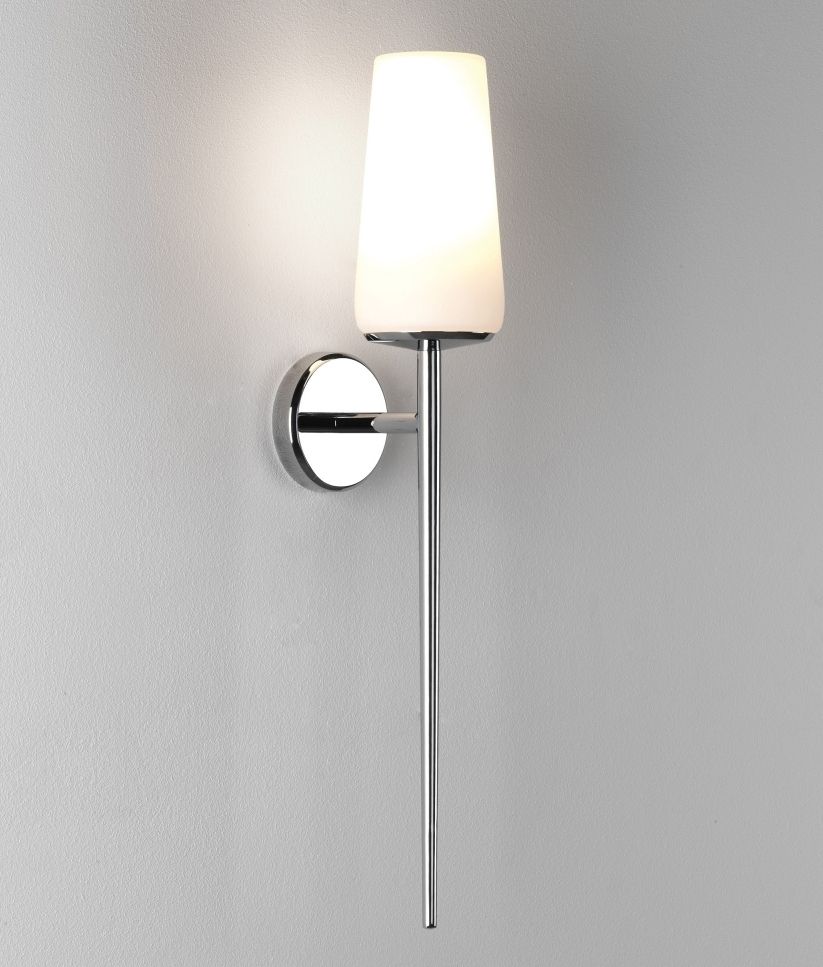 Tall Amp Slim Polished Chrome Wall Light Amp Opal Glass Shade
