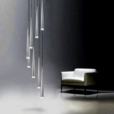 Long Drop Fluted 8 Shade Light In Black White Or Chrome
