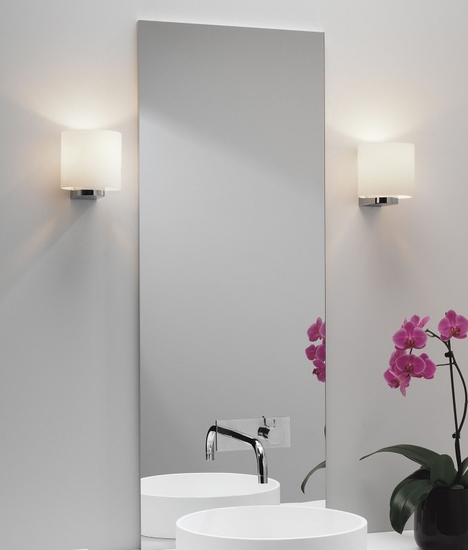Opal glass wall light chrome bracket ip44 ideal for bathrooms