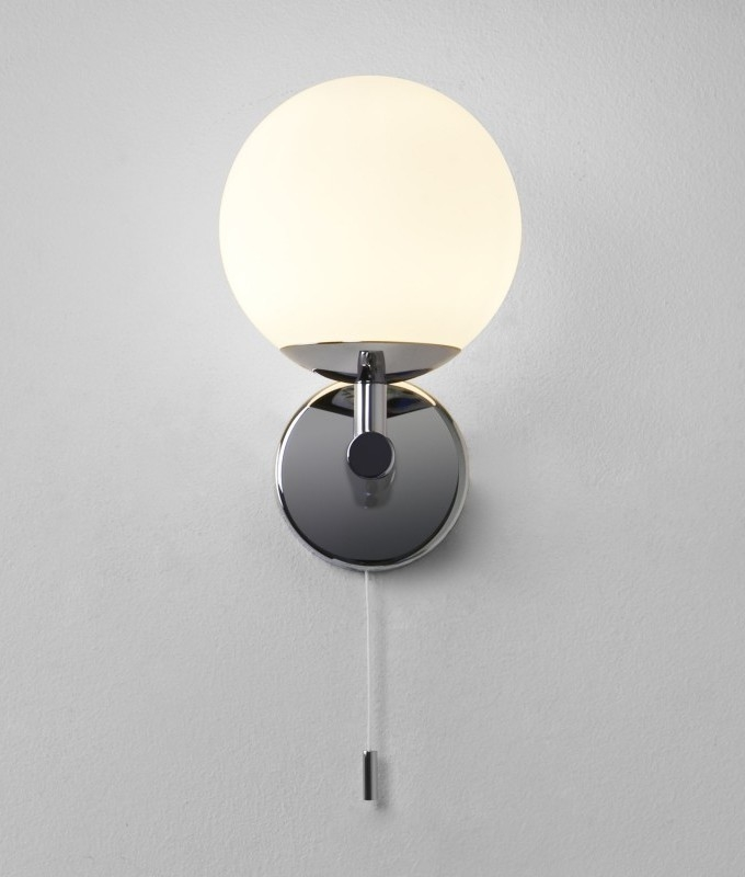 Chrome Ball Wall Lights : Glass Globe Bathroom Wall Light