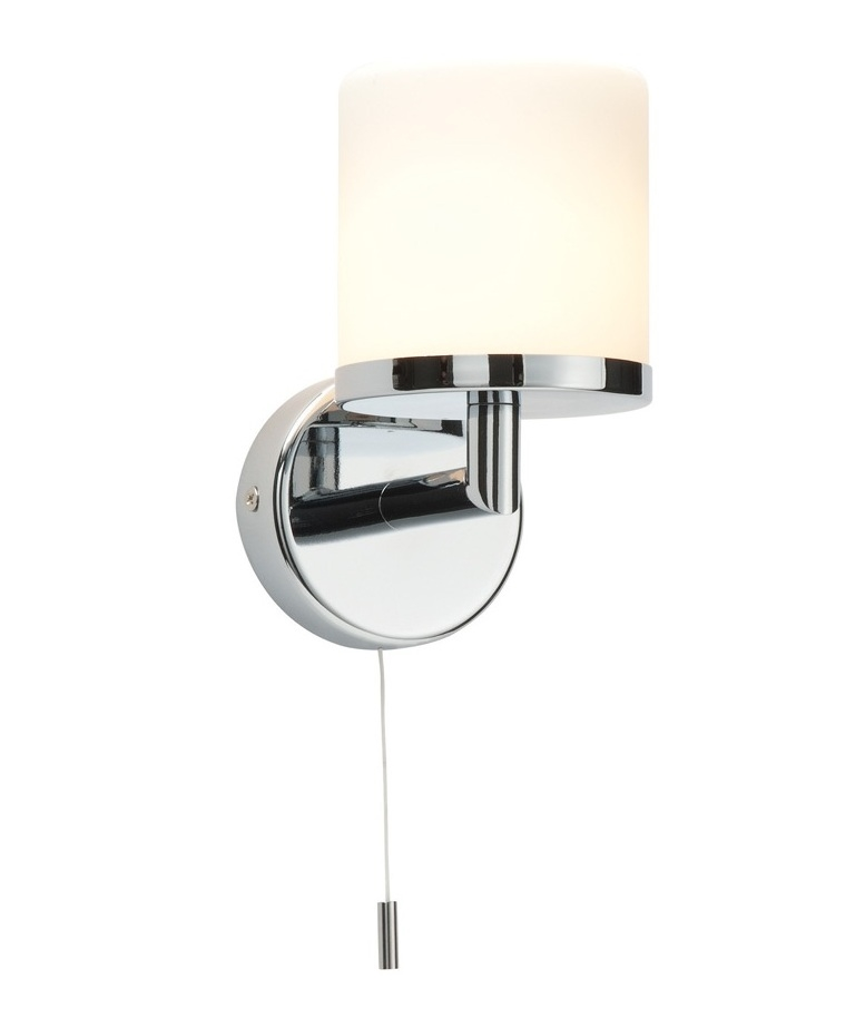 Switched Wall Lights For Bedroom : IP44 rated chrome and opal duplex glass bathroom wall light
